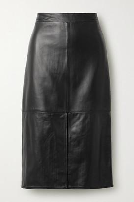Tibi Leather Midi Skirt - Black