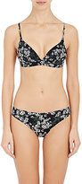 Stella McCartney WOMEN'S JAPANESE-BLOSSOM-PRINT MICROFIBER TRIANGLE SOFT BRA-BLACK SIZE S