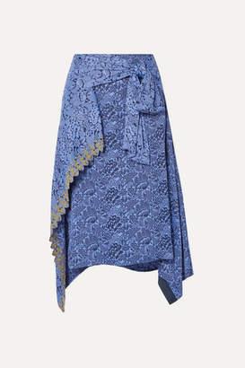 Chloé Asymmetric Embroidered Floral-jacquard Skirt - Blue