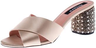 Rochas Beige Satin Cross Strap Crystal Embellished Block Heel Sandals Size 38