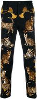 Dolce & Gabbana cat print skinny trousers