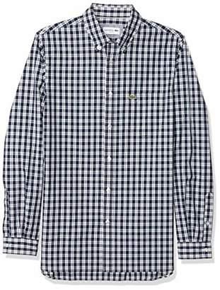 Lacoste Men's Long Sleeve Slim Fit Poplin Check Woven Shirt