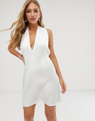 ASOS DESIGN halter neck mini swing dress in knit