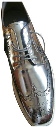 Prada Silver Patent leather Lace ups