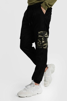boohoo Mens Black Cargo Trousers With Camo Pockets, Black