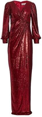 Teri Jon By Rickie Freeman Long-Sleeve Sequin Gown
