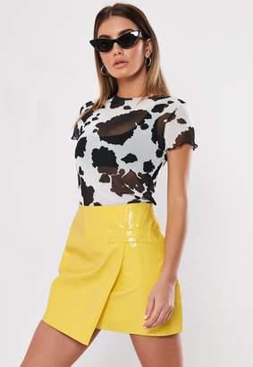 Missguided Yellow Croc Wrap Mini Skirt