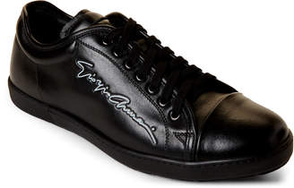 Giorgio Armani Black Logo Leather Low-Top Sneakers