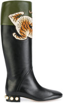 Gucci tiger-embellished boots