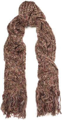 Brunello Cucinelli Fringed Embellished Marled Knitted Scarf