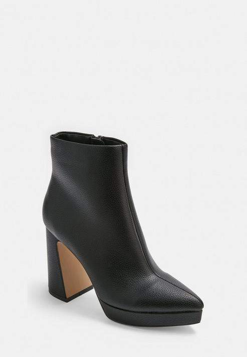 2109e683cd1 Black Faux Leather Pointed Toe Platform Boots