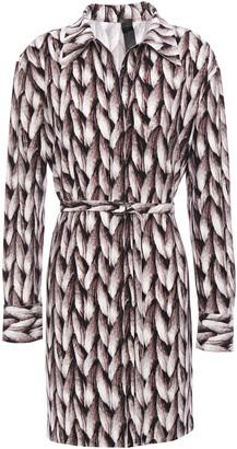 Norma Kamali Belted Printed Stretch-jersey Shirt Dress
