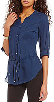 Investments Y-Neck Roll-Tab Sleeve Cinched Waist Solid Blouse