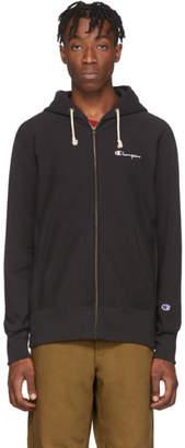 Champion Reverse Weave Black Script Logo Full Zip Hoodie