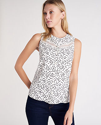 Ann Taylor Petite Lace Pintucked Shell Top