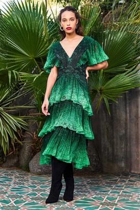 Tadashi Shoji Tiered Ombre Midi Dress