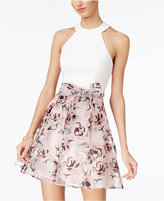 B. Darlin Juniors' Strappy-Back Fit and Flare Dress
