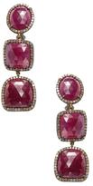 Silver, Ruby & 4.00 Total Ct. Diamond Triple Drop Earrings