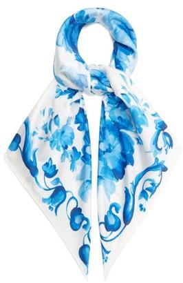 Valentino Delft Floral-print Silk Scarf - Blue White