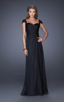 La Femme 19143 Pretty Cap Sleeve Lace Ruched Evening Gown