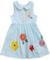 Sweet Heart Rose Floral Embroidered Seersucker Dress, Toddler Girls