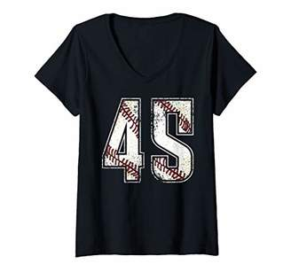 Womens Baseball Jersey Number 45 Vintage Retro Birthday Gift V-Neck T-Shirt