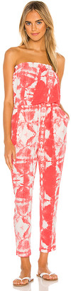 1 STATE Strapless Tie Dye Knit Jumpsuit