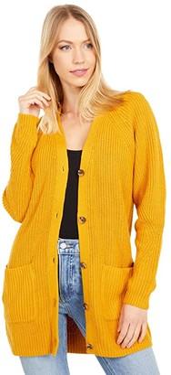 Lucky Brand Traveling Rib Long Cardigan (Sunflower) Women's Clothing