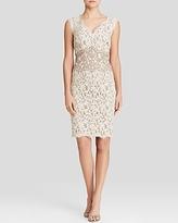 Tadashi Shoji Petites Dress - Sleeveless V-Neck Color Block Lace