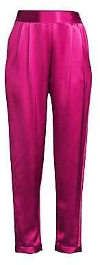 Fleur Du Mal Women's Racing Stripe Rolled Cuff Banded Waist Silk Tuxedo Pants