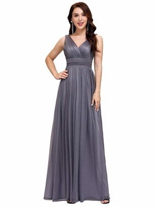 Ever Pretty Ever-Pretty Women's Double V Neck Floor Length A Line Empire Waist Long Prom Dresses Navy Blue 8UK