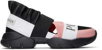 Emilio Pucci Black and Pink City-Up Ruffle Sneakers