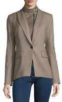 Veronica Beard Kahn Herringbone Jacket w/ Leather Dickey, Taupe