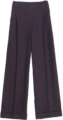AILANTO Brown Palazzo Checked Trousers