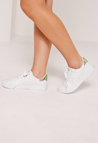 Missguided White Holographic Reptile Tab Sneakers
