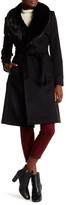 Karen Millen Removable Faux Fur Collar Signature Wool Blend Trench Coat