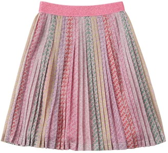 Little Marc Jacobs All Over Print Pleated Lurex Skirt