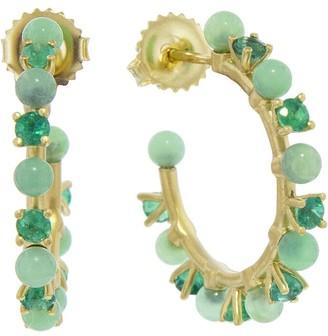 Irene Neuwirth 3mm Green Chrysoprase Sphere and Emerald Yellow Gold Hoop Earrings