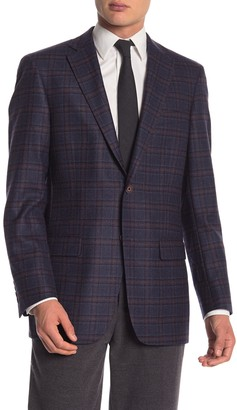 Hart Schaffner Marx Dark Blue Plaid Two Button Notch Lapel Wool Classic Fit Blazer