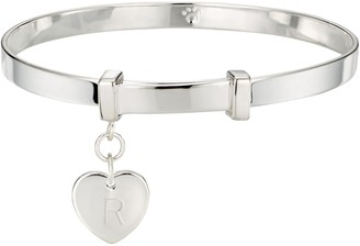 Molly Brown London Sterling Silver Love Heart Christening Bangle