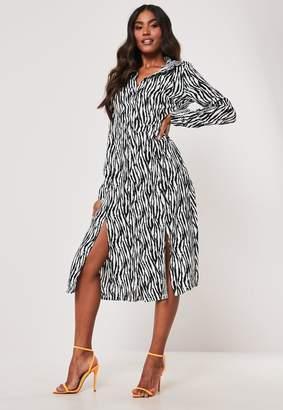 Missguided White Zebra Print Midi Shirt Dress