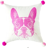 The Well Appointed House French Bulldog Pom Pom Pillow in Pink