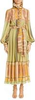 Etro Paisley Ruffle Long Balloon Sleeve Silk Maxi Dress