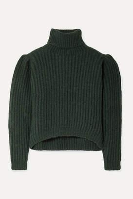 Apiece Apart Nicola Ribbed Alpaca-blend Turtleneck Sweater - Dark green