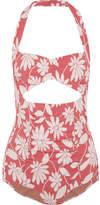Miu Miu Cutout Floral-jacquard Halterneck Bodysuit - Coral