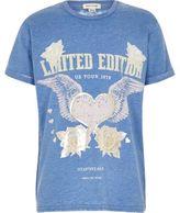 River Island Girls Blue burnout band print T-shirt