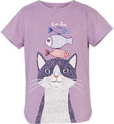 Fat Face Girls' Cat And Fish Graphic T-Shirt, Purple