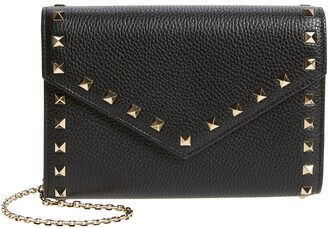 Valentino Rockstud Leather Envelope Wallet on a Chain