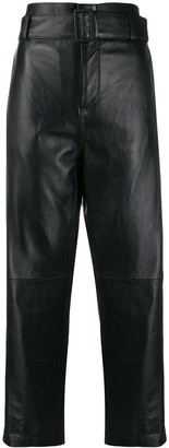MM6 MAISON MARGIELA High Waist Leather Trousers