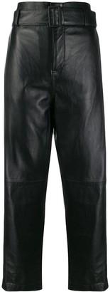 MM6 MAISON MARGIELA high waist leather trousers